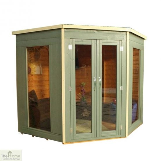 Green Wooden Corner Summerhouse_6