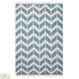 Light Blue Patterned Reversible Rug_1