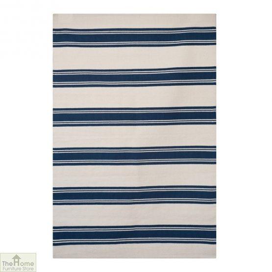 Cotton Patterned Reversible Blue Rug_1