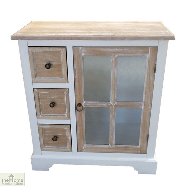Cotswold Glass Door 3 Drawer Unit