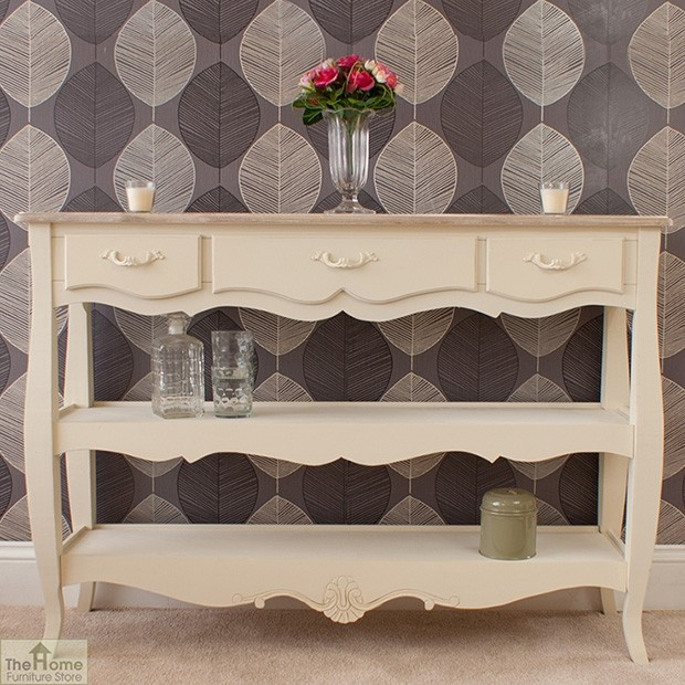 Devon 3 drawer 2 shelf console table home furniture store Home furniture outlet uk