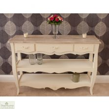 Devon Shabby Chic 3 Drawer 2 Shelf Console Table