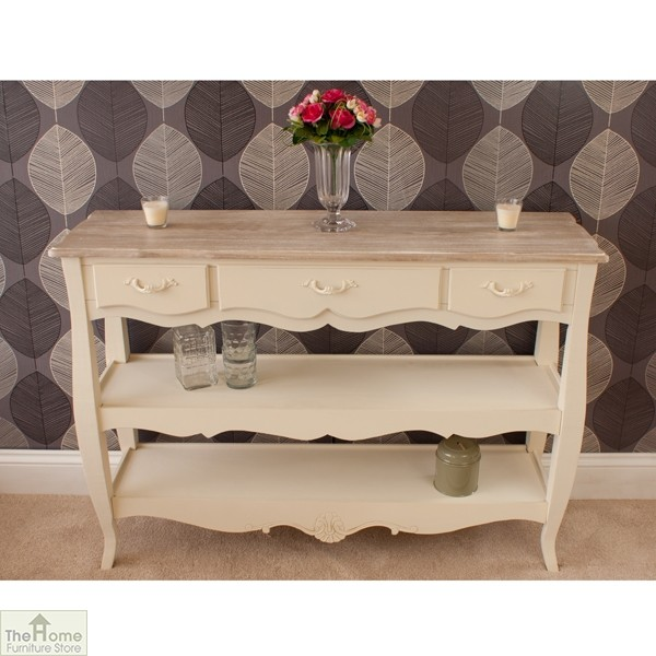 Devon 3 Drawer 2 Shelf Console Table Home Furniture Store