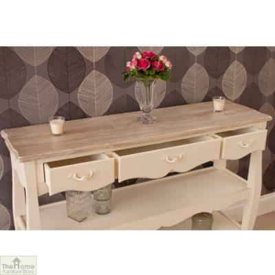 Devon Shabby Chic 3 Drawer 2 Shelf Console Table_6