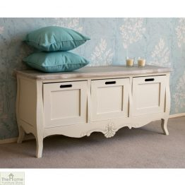 Devon Shabby Chic 3 Drawer Storage Bench_1
