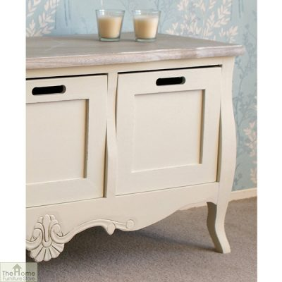 Devon Shabby Chic 3 Drawer Storage Bench_2