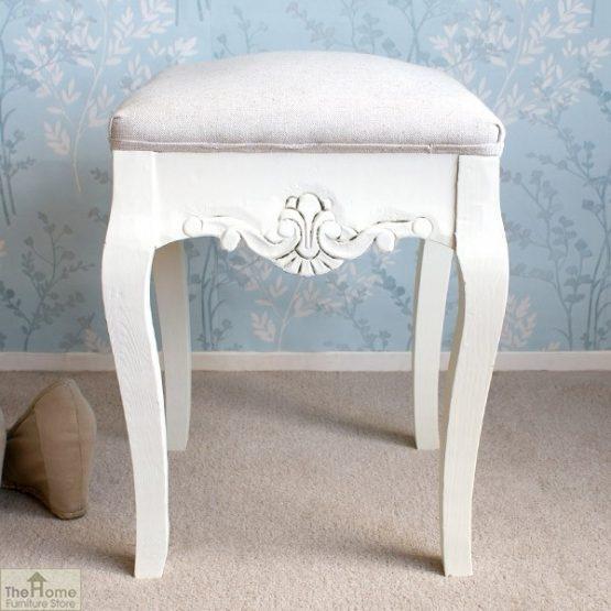 Devon Dressing Table Stool White Finish_1