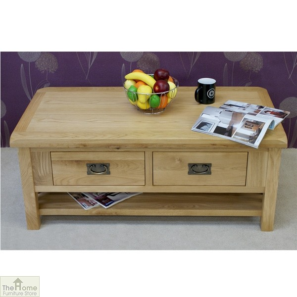 Farmhouse Kitchen Table With Drawers: Farmhouse Oak 2 Drawer Coffee Table