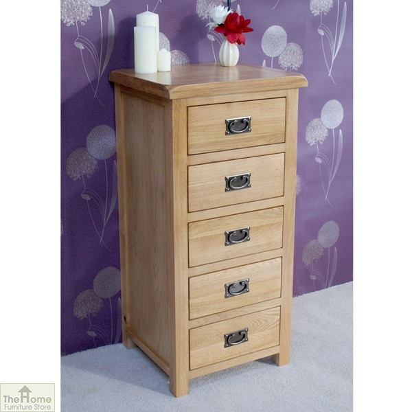 Farmhouse oak 5 drawer tallboy the home furniture store Home furniture outlet uk