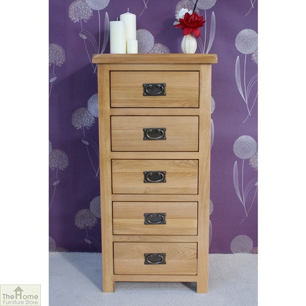 Farmhouse Oak 5 Drawer Tallboy The Home Furniture Store