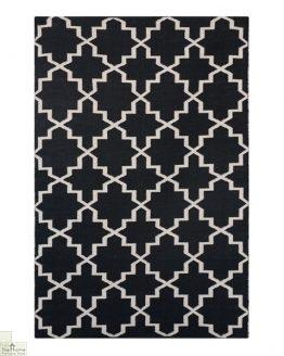 Black White Reversible Patterned Rug_1