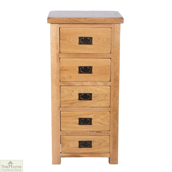 Farmhouse Oak 5 Drawer Tallboy