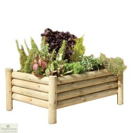 Raised Wooden Log Planter