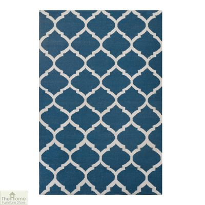 Royal Blue White Reversible Rug_1