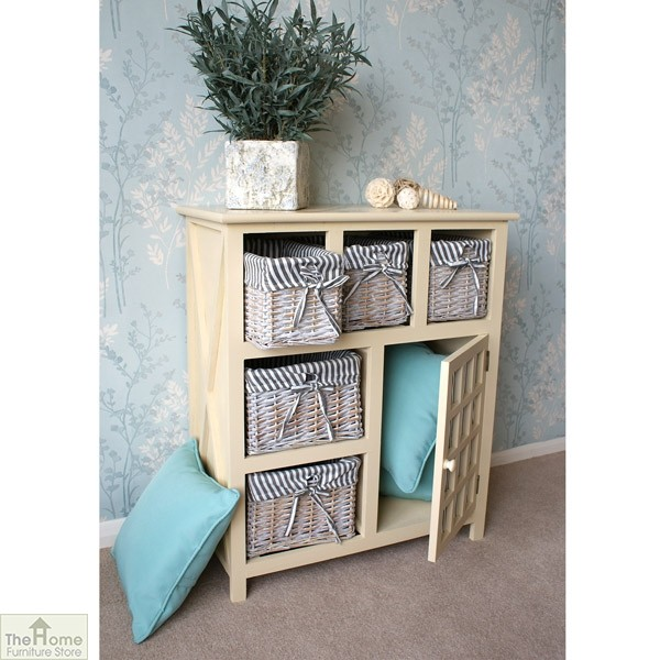 Selsey Wicker 5 Drawer 1 Door Storage Unit_3