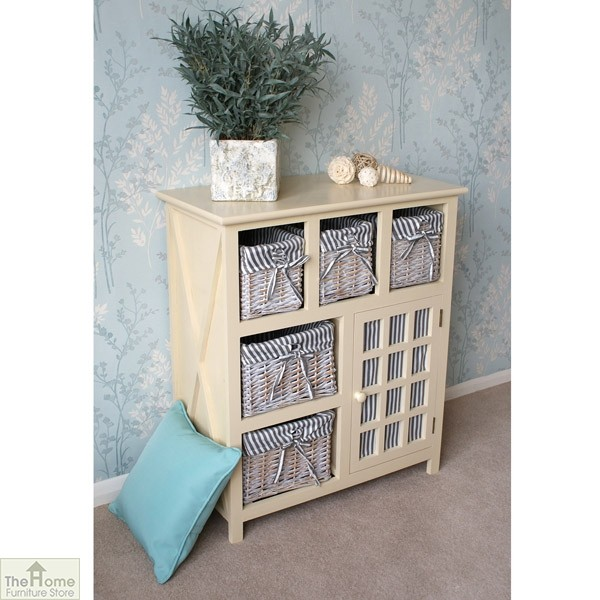 Selsey Wicker 5 Drawer 1 Door Storage Unit_2