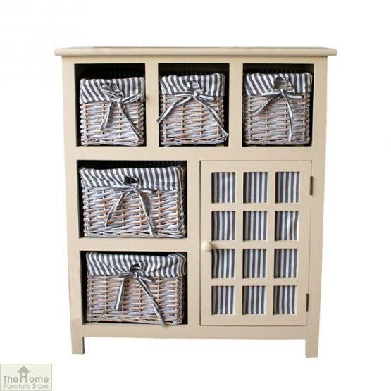 Selsey Wicker 5 Drawer 1 Door Storage Unit