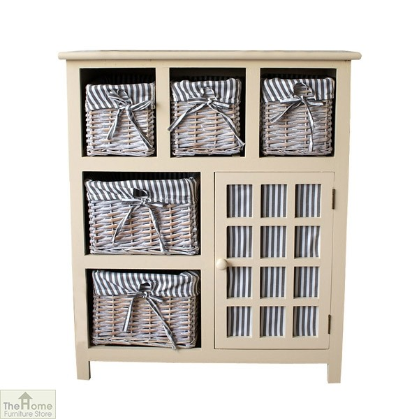 Selsey Wicker 5 Drawer 1 Door Storage Unit