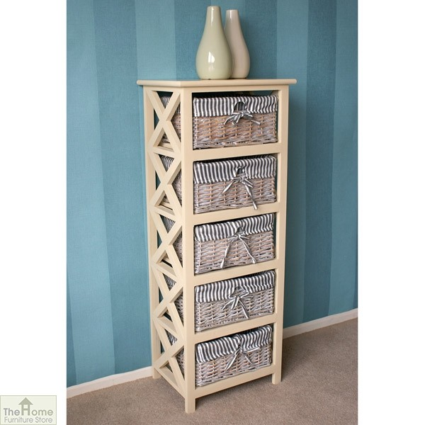 Selsey 5 Drawer Wicker Tallboy Unit_2