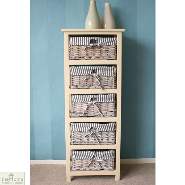 Selsey 5 Drawer Wicker Tallboy Unit_1