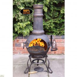 Large Cast Iron Bronze Chimenea_1
