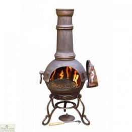 Large Cast Iron Bronze Chimenea