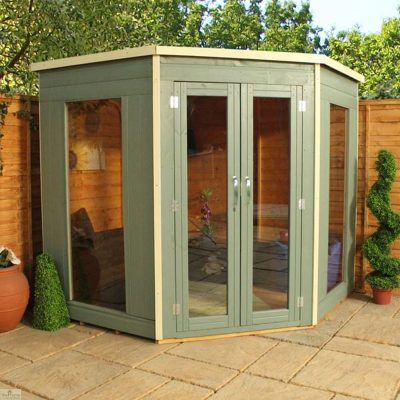 Green Wooden Corner Summerhouse - Available in 2 Sizes