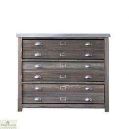 Zinc Top 3 Drawer Cabinet