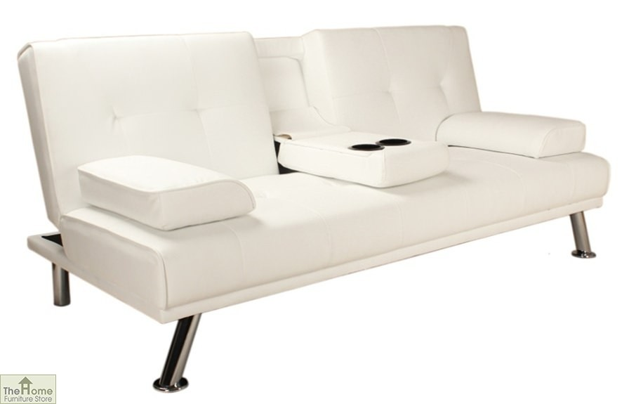 Vienna sofa bed faux white leather the home furniture store Home furniture outlet uk