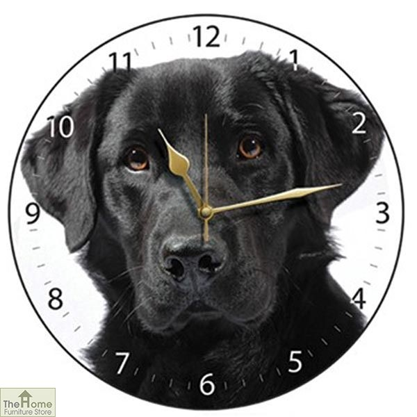 Black Labrador Wall Clock White