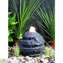 Black Rustic Sphere Water Fountain Feature