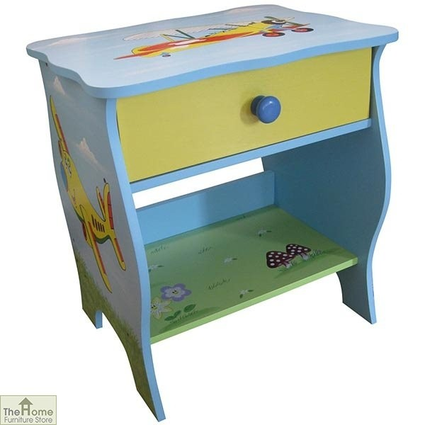 Childrens Blue Plane Bedside Table