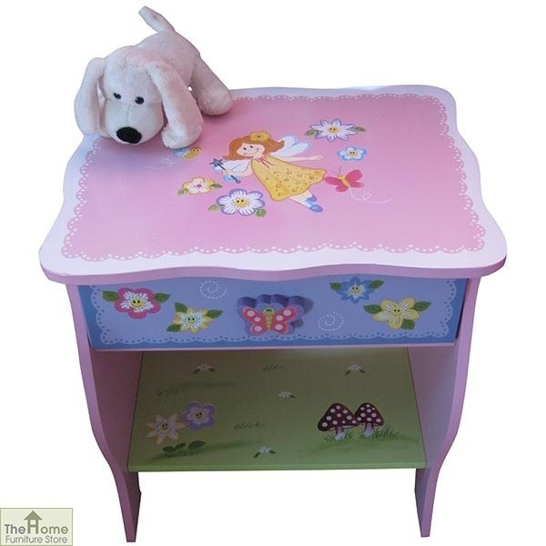 Childrens Pink Fairy Bedside Table