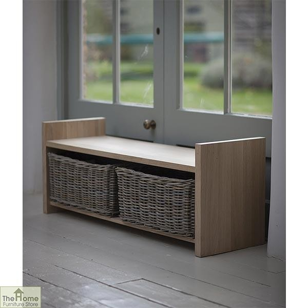 Oak Wicker Drawer Storage Bench_1