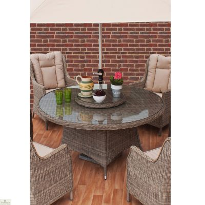 Casamore Corfu 150cm Round 6 Seater Dining Set with Wing Back Armchairs