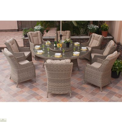 Casamore Corfu 180cm Round 8 Seater Dining Set with Wing Back Armchairs