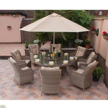 Casamore Corfu Round 8 Seater Dining Set with Wing Back Armchairs