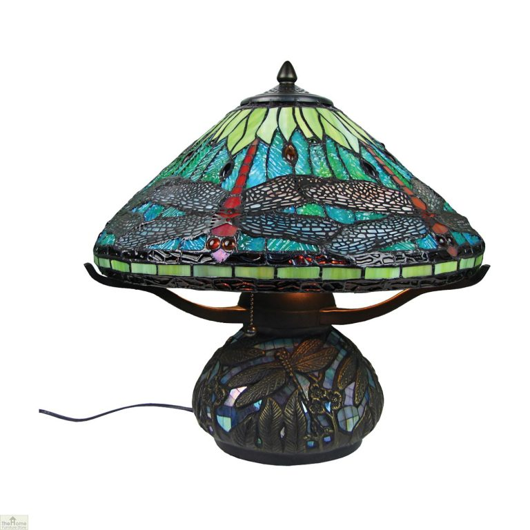 Aqua Blue Dragonfly Table Lamp