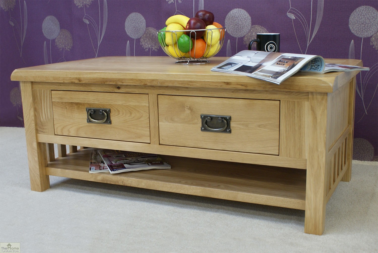 Farmhouse Oak 2 Drawer Coffee Table The Home Furniture Store