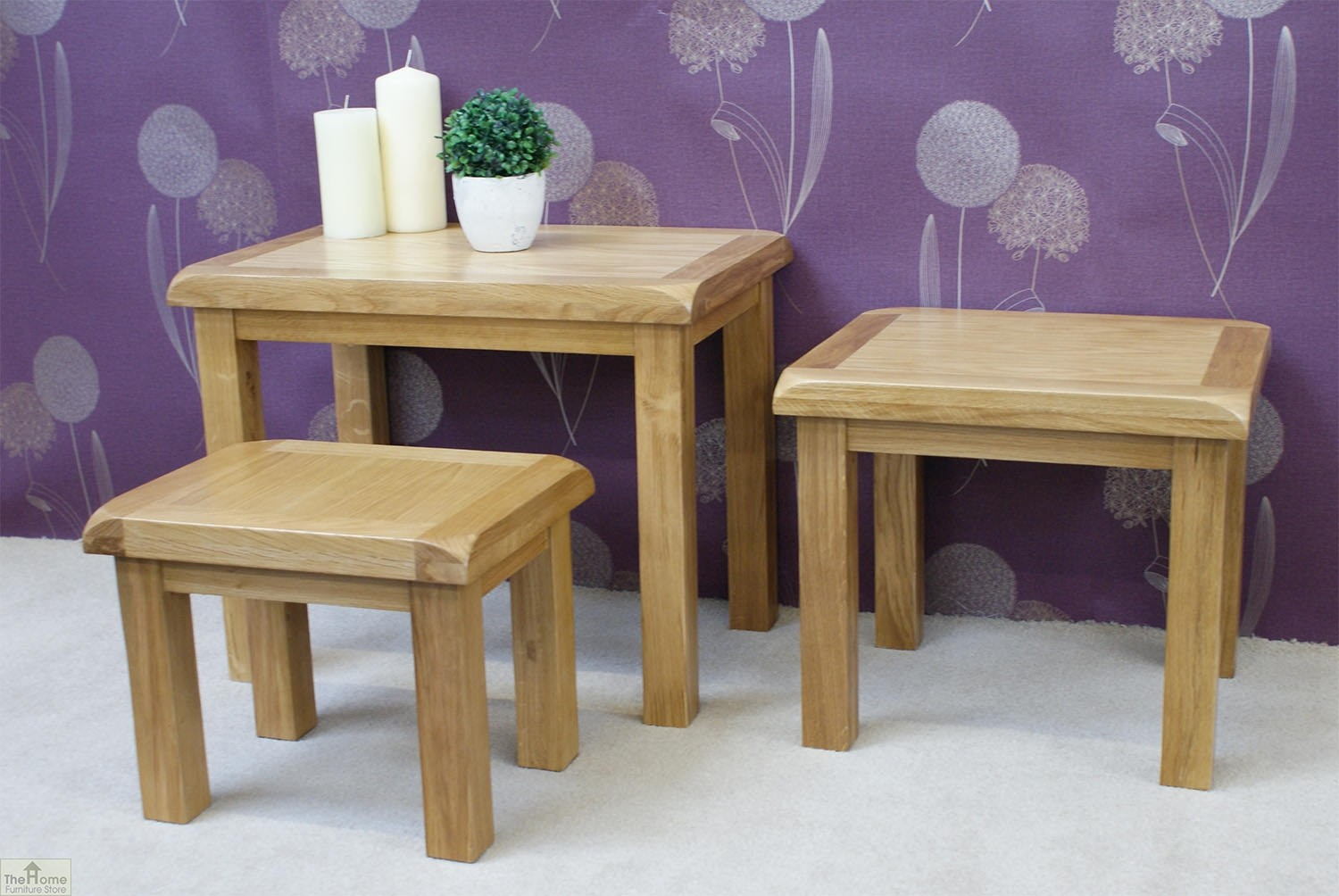 Farmhouse oak nest 3 tables the home furniture store Home furniture outlet uk