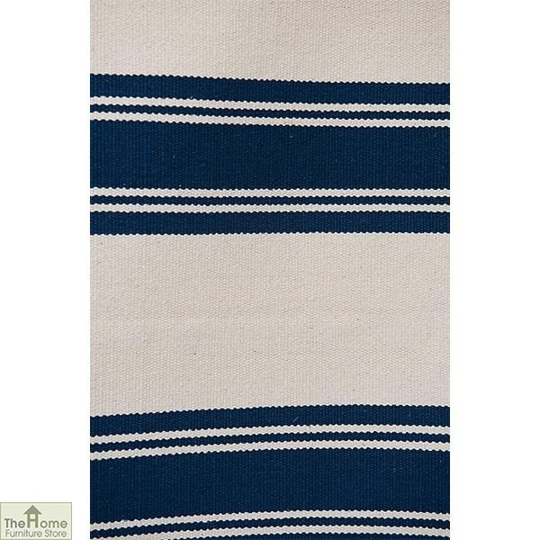 Cotton Patterned Reversible Blue Rug