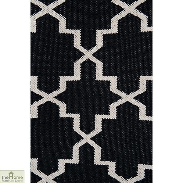 Black White Reversible Patterned Rug