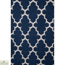 Blue/White Reversible Patterned Rug