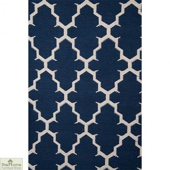 Blue White Reversible Patterned Rug