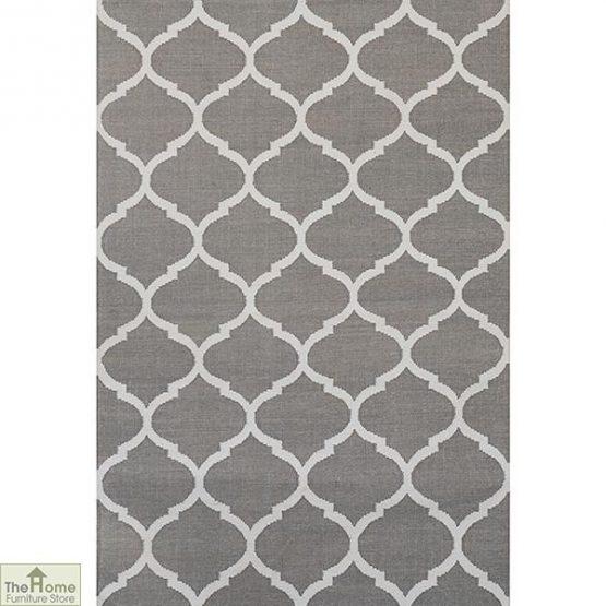Handwoven Grey Reversible Patterned Rug