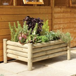 Raised Wooden Log Planter_1