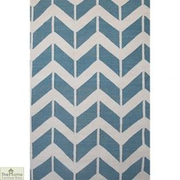 Light Blue Patterned Reversible Rug