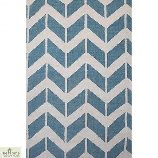 Light Blue Patterned Reversible Rug