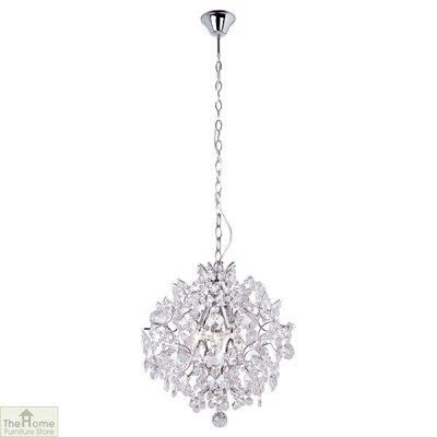 3 Lgt Chrome Crystal Ball Chandelier