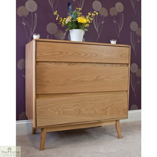 Casamoré Retro Style Oak 3 Drawer Chest_2